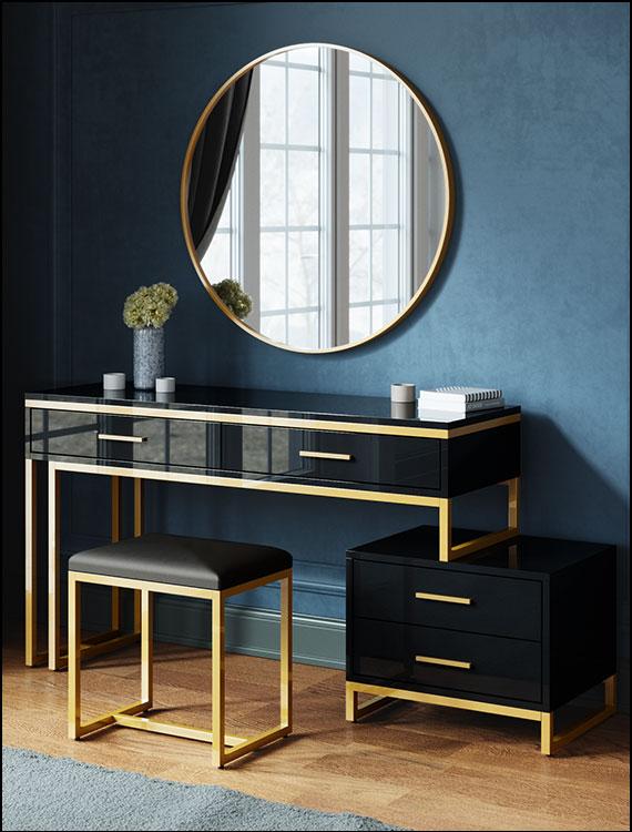 כסאות מעוצבים דגם ניס צבע שחור גימור זהב ליאו עיצובים