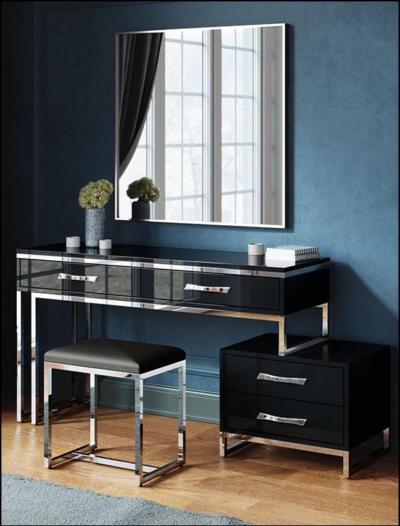 כסאות מעוצבים דגם ניס צבע שחור גימור ניקל ליאו עיצובים
