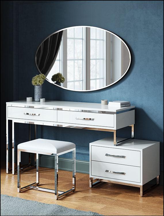 שידת איפור דגם ברצלונה לבן ניקל שידות איפור ליאו עיצובים מראה אליפסה